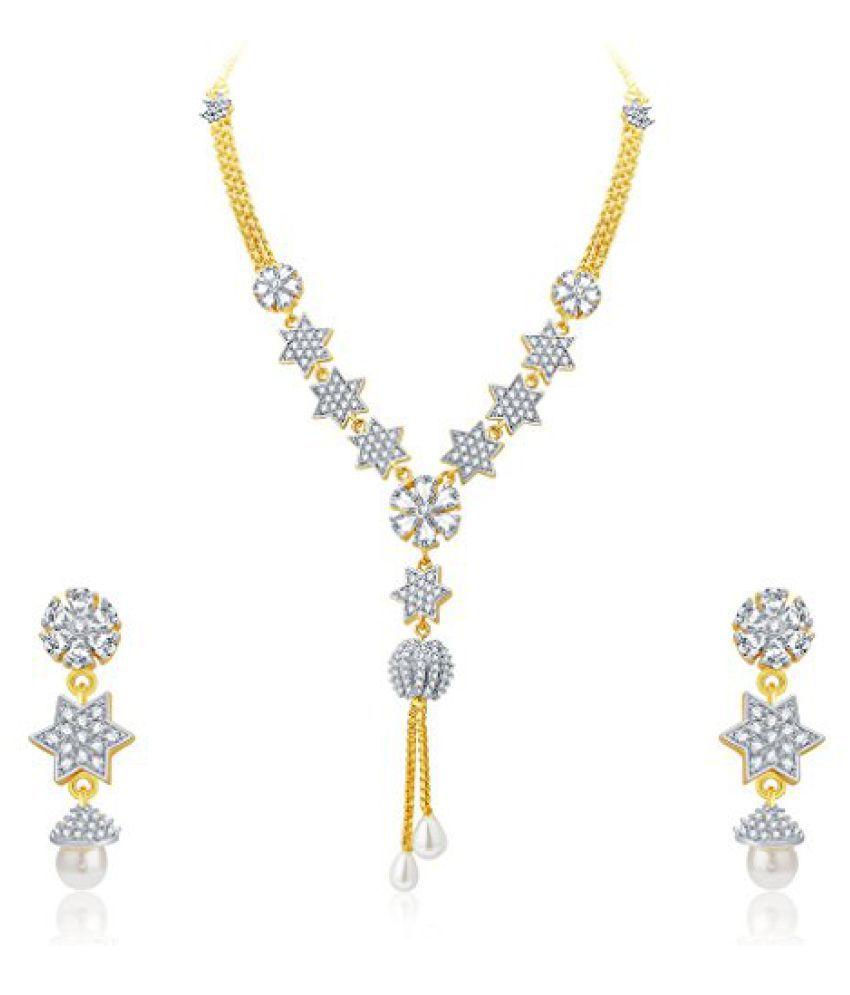 Sukkhi Lavish Gold And Rhodium Plated CZ Neklace Set For Women