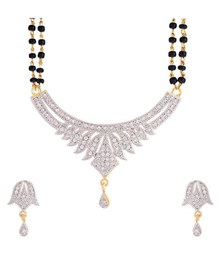 Zeneme American Diamond Silver & White Gold Plated Mangalsutra Jewellery For Women