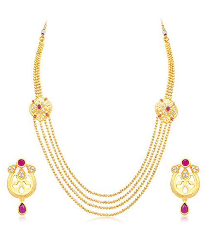 Sukkhi Fashionable 4 String Gold Plated CZ Necklace Set For Women