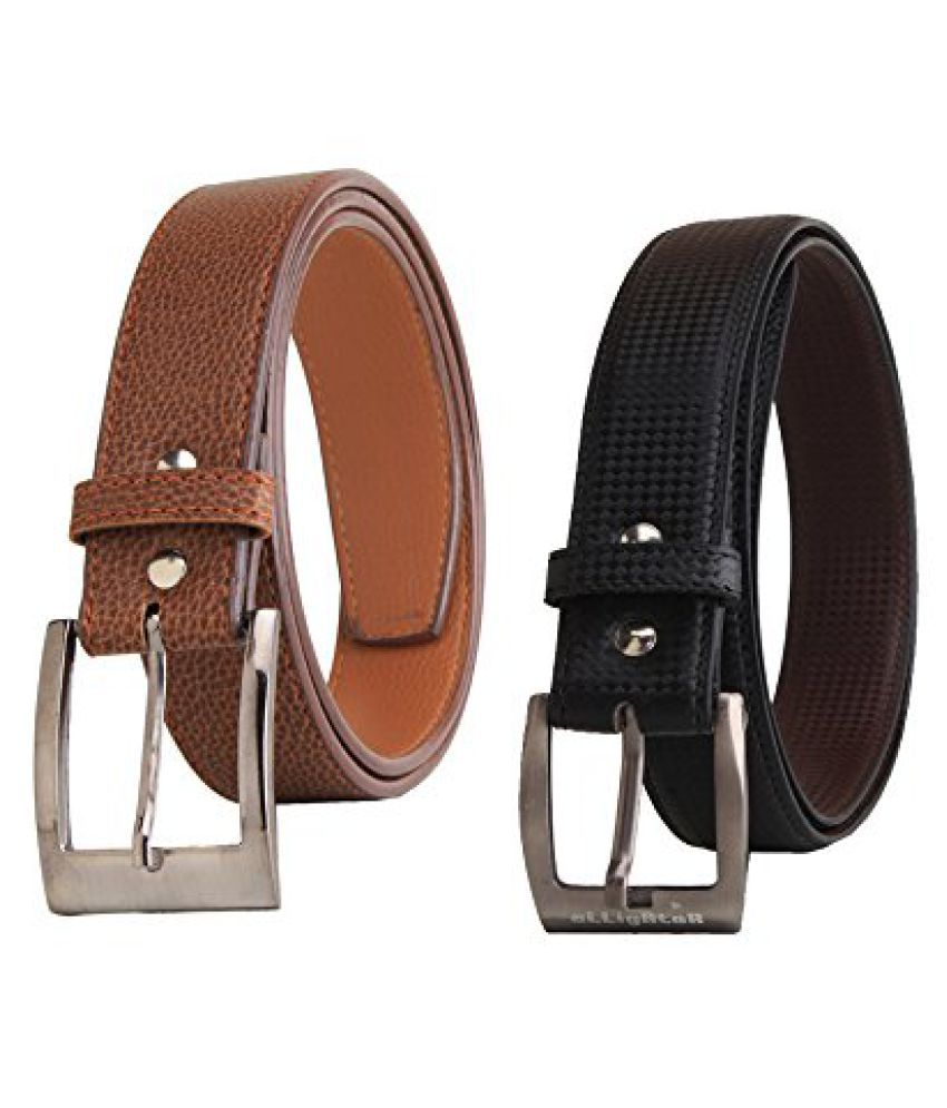 Combo of Elligator Leather Belt's for Men