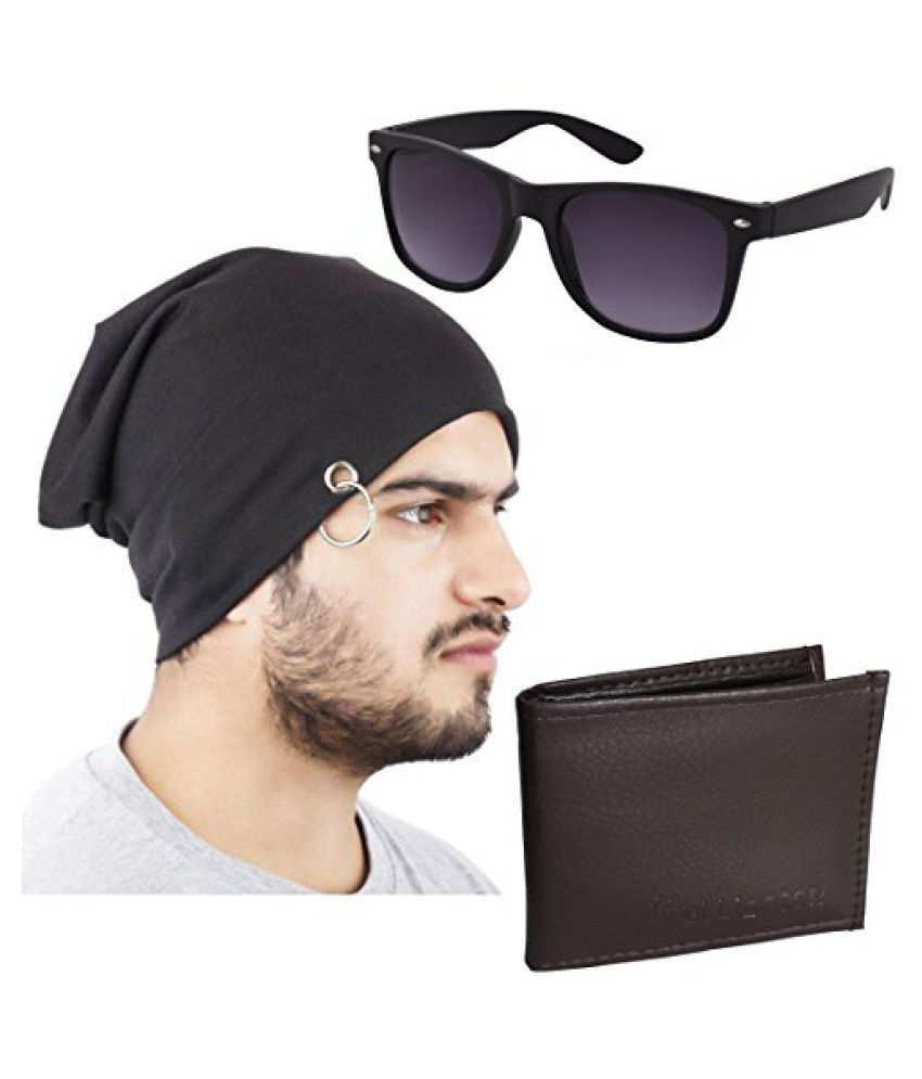 Elligator Stylish Winter Black Sloachy Ring Beanie Cap With Synthetic Wallet,Wayfarer For Men (One Cap,One Wallet,One Wayfarer Sunglass)
