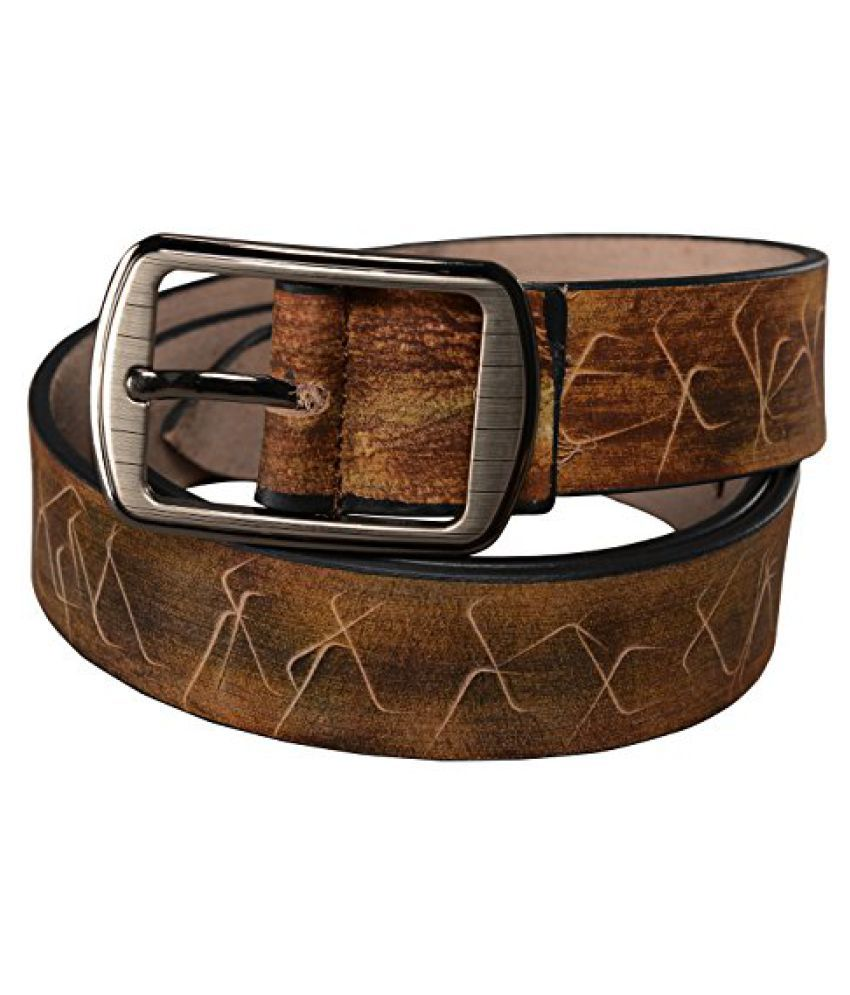 Leather Junction Casual Spidy Pattern Genuine Leather Belt Size 32