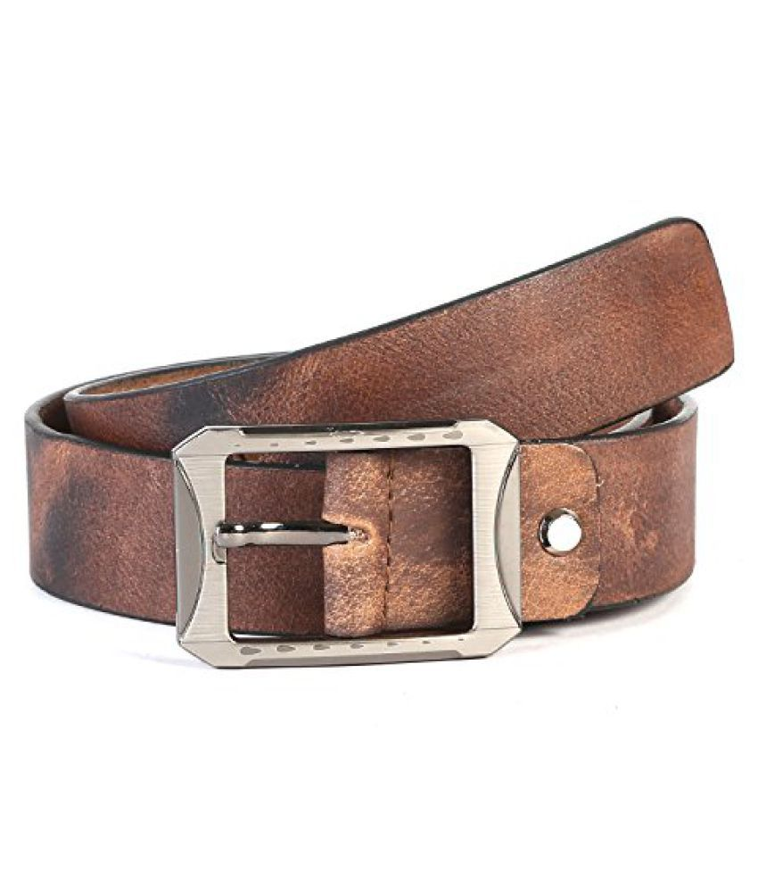 Leather Junction Cognac Belt For Men Size-34