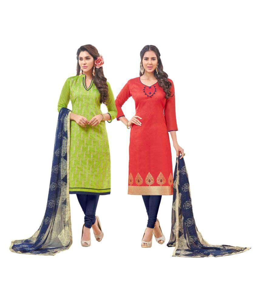 Viva N Diva Multicoloured Chanderi Dress Material