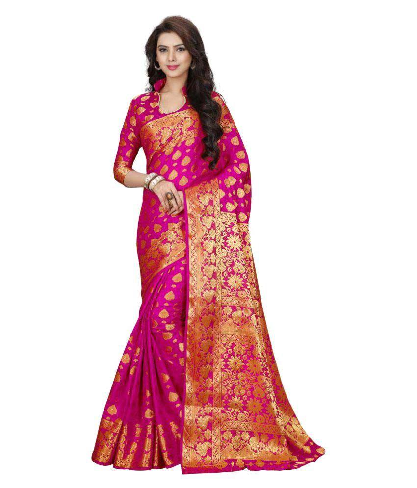 Kenil Chaturbhai Korat Pink Banarasi Silk Saree