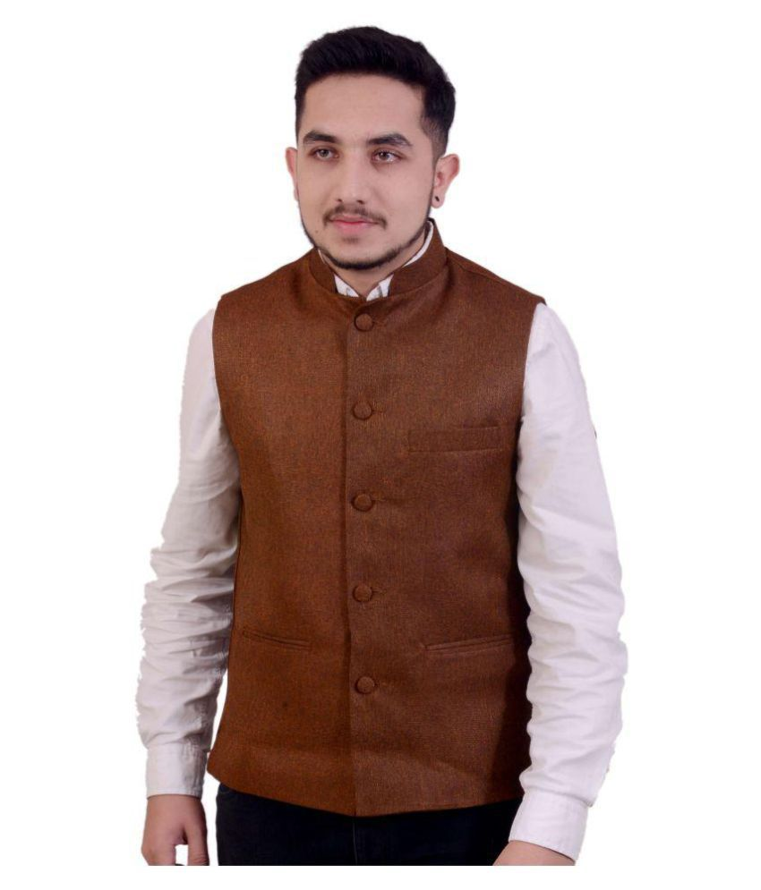Fashion N Style Brown Solid Formal Waistcoats