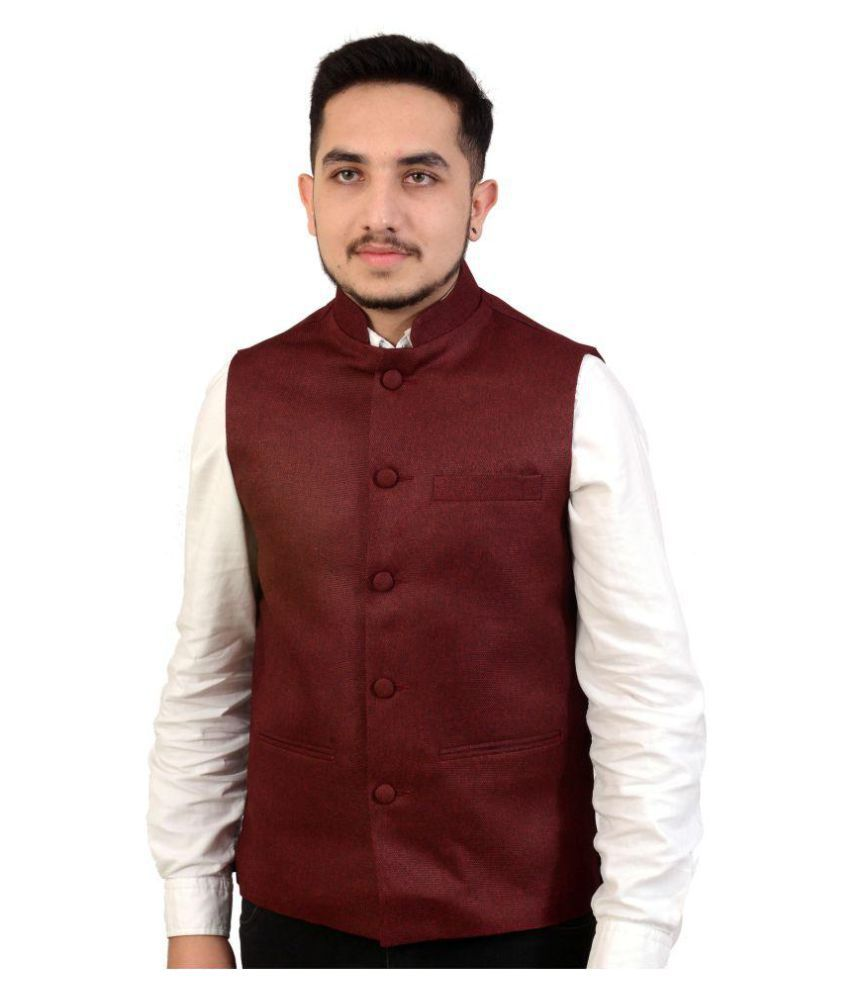 Fashion N Style Red Solid Formal Waistcoats