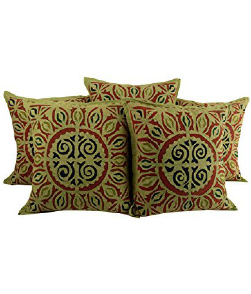 Decorative Green Set of 5 Attractive Cushion Cover 17x17 Geometric Applique Work Pillow Covers Trendy Cotton Throw Pillow By Rajrang