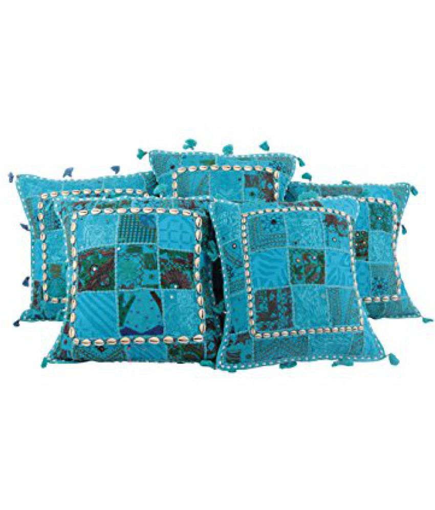 Home Art Cotton cushion covers Blue Rajasthani Living Room Accessories throw pillows 16x16 pillow covers Designer Patchwork By Rajrang