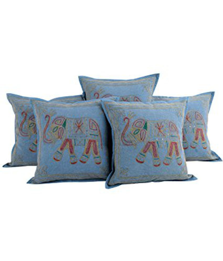 Living Room Accessories Iceberg Blue Set of 5 Traditional Pillow Covers 16x16 Elephant Embroidered Throw Pillow Indian Cotton Cushion Cover By Rajrang