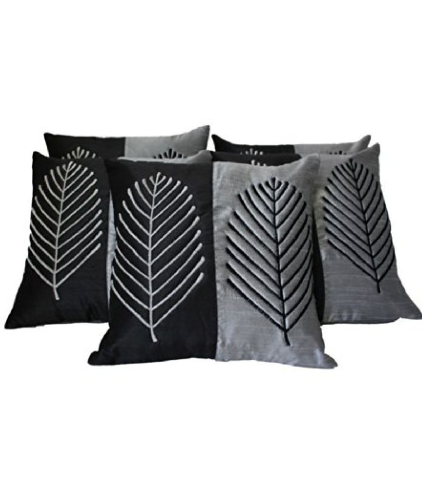 DEKOR WORLD Embroidered Leaf Black & Gray Cushion Cover (Pack Of 5)(16