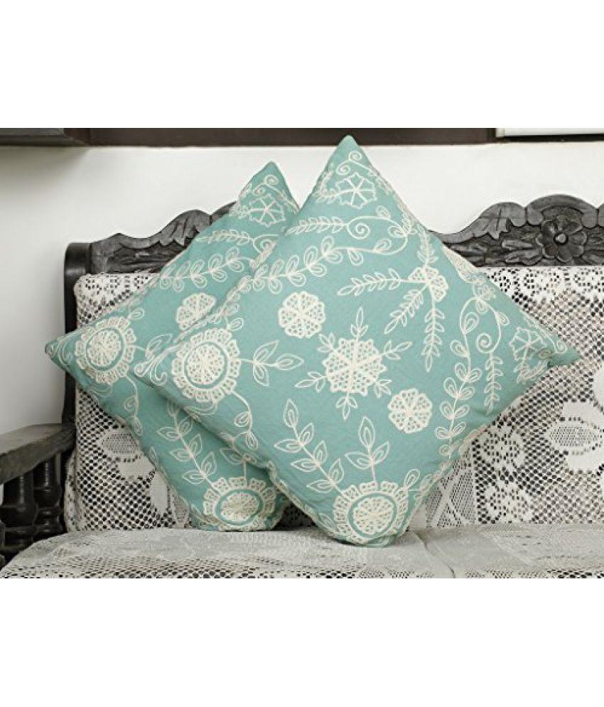 Dekor World Aqua Emboidery Cushion Cover (Pack of 2)