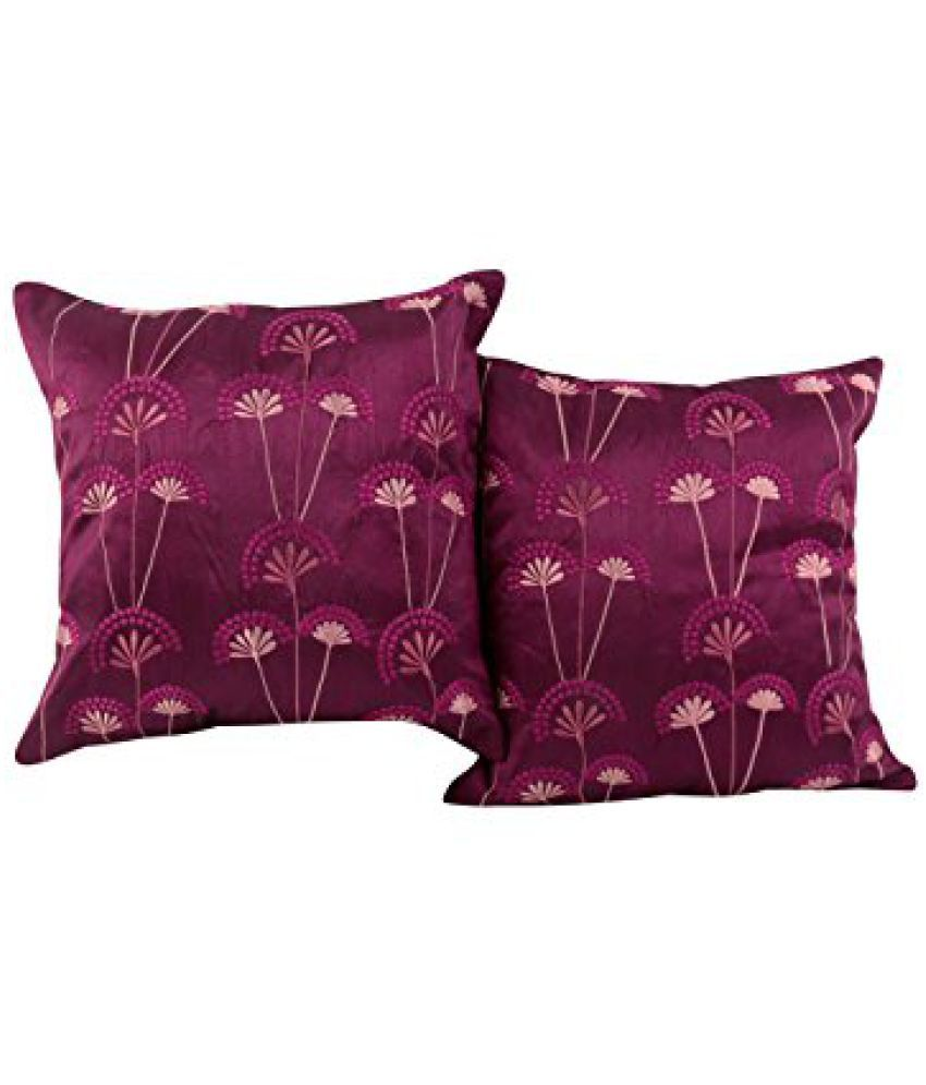 Rajasthani 16 x 16 cushion covers Polyester Simple Decor Decorative throw pillows Pink pillow covers Floral Embroidered By Rajrang