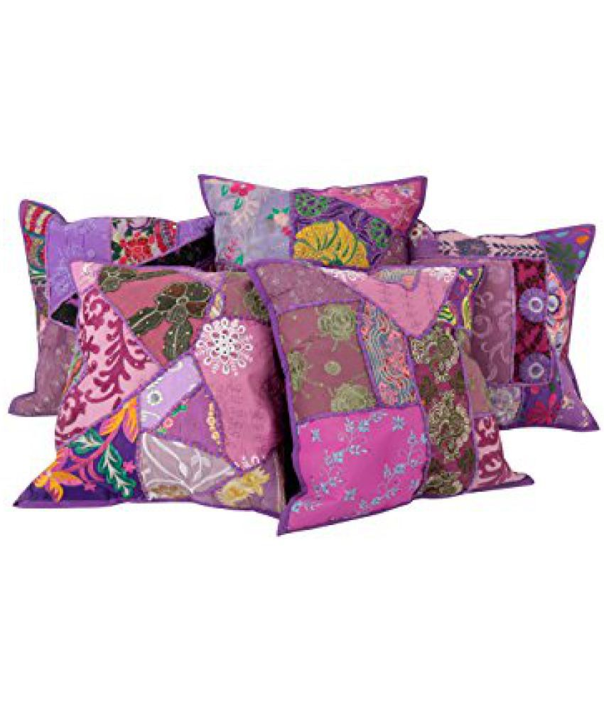 Traditional Purple Set of 5 Indian Cushion Cover 16x16 Designer Patchwork Pillow Covers Living Room Accessories Cotton Throw Pillow By Rajrang