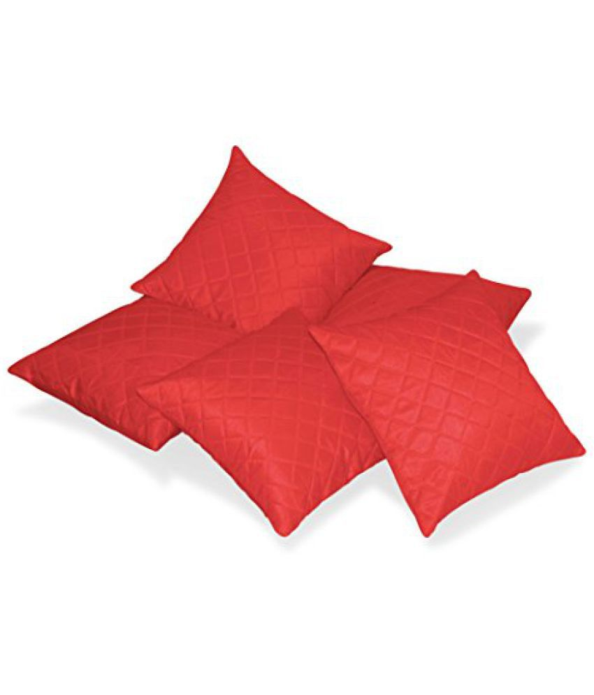 Zikrak Exim Box Quilted Red Cushion cover 50 X 50 Cms