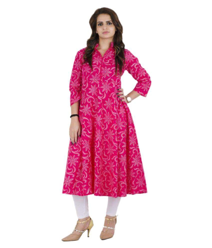 Zoeyam's Pink Cotton Anarkali Kurti