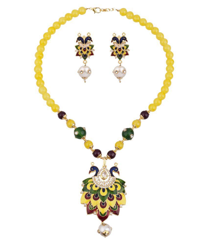 Makezak Yellow Brass Jaipuri Meenakari Necklace Set for Women