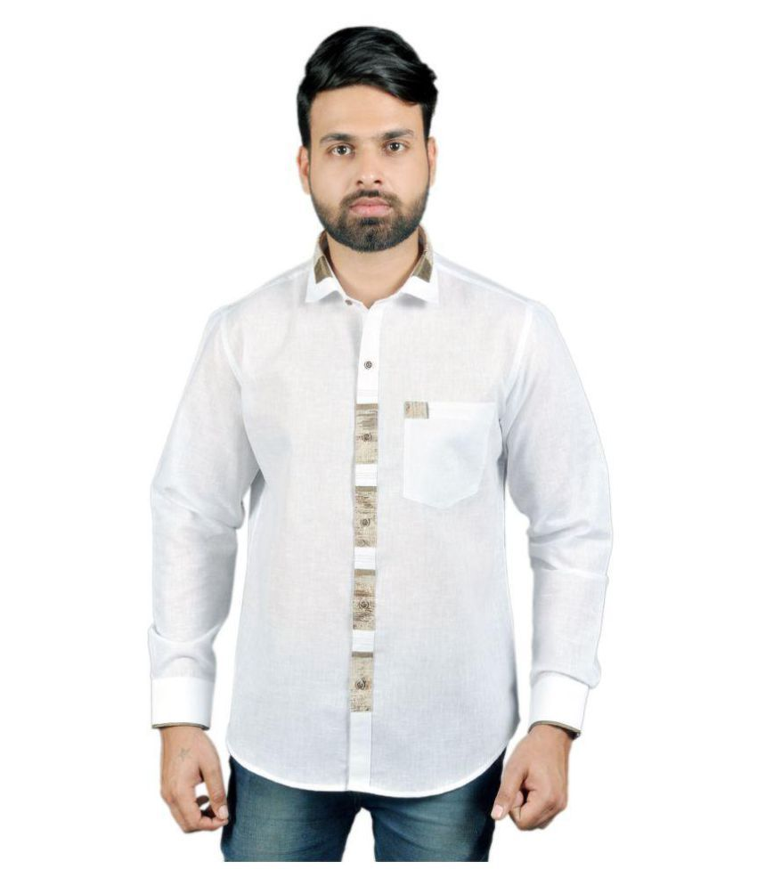 D Moda White Partywear Slim Fit Shirt