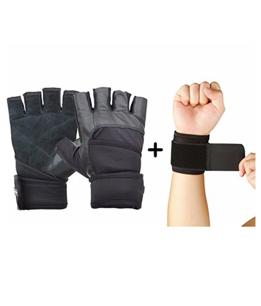Nivia Prowrap Gym Gloves Combo (Nivia Prowrap Gym Gloves + Nivia Wrist Support) BLACK