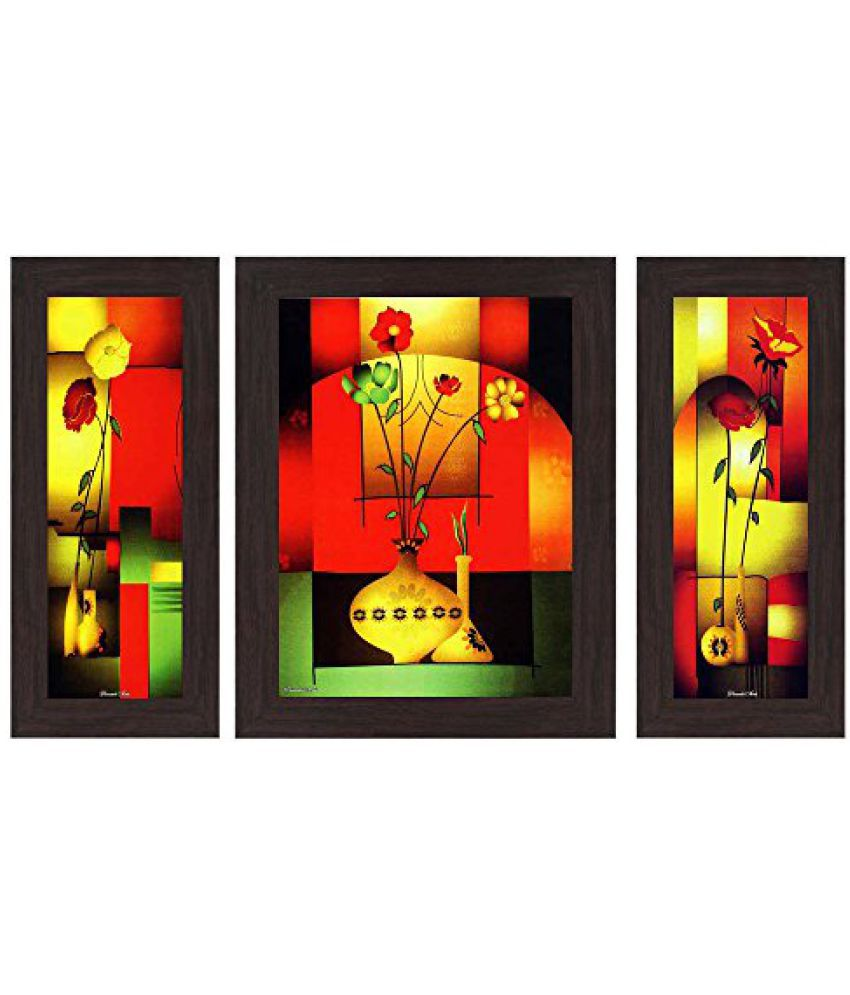 Wens Floral MDF Wall Art (14.5 cm x 29 cm x 1 cm, Set of 3, WSP-4124)