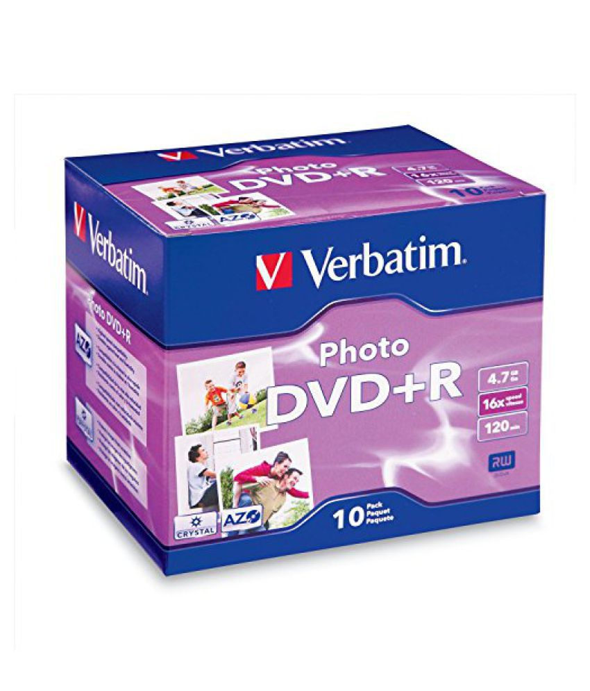Verbatim 4.7 GB up to 16x Photo Recordable Disc DVD+R, 10-Disc Jewel Case 95523
