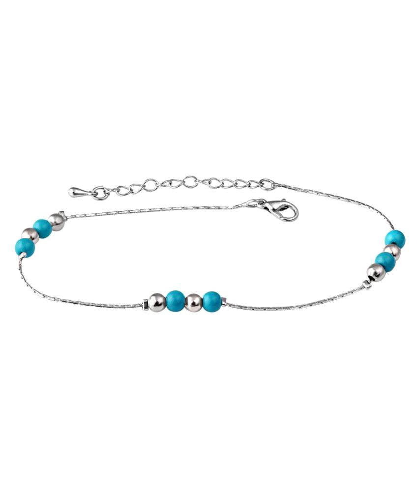 Spargz Bead Design Rhodium Plated Alloy Anklet For Women