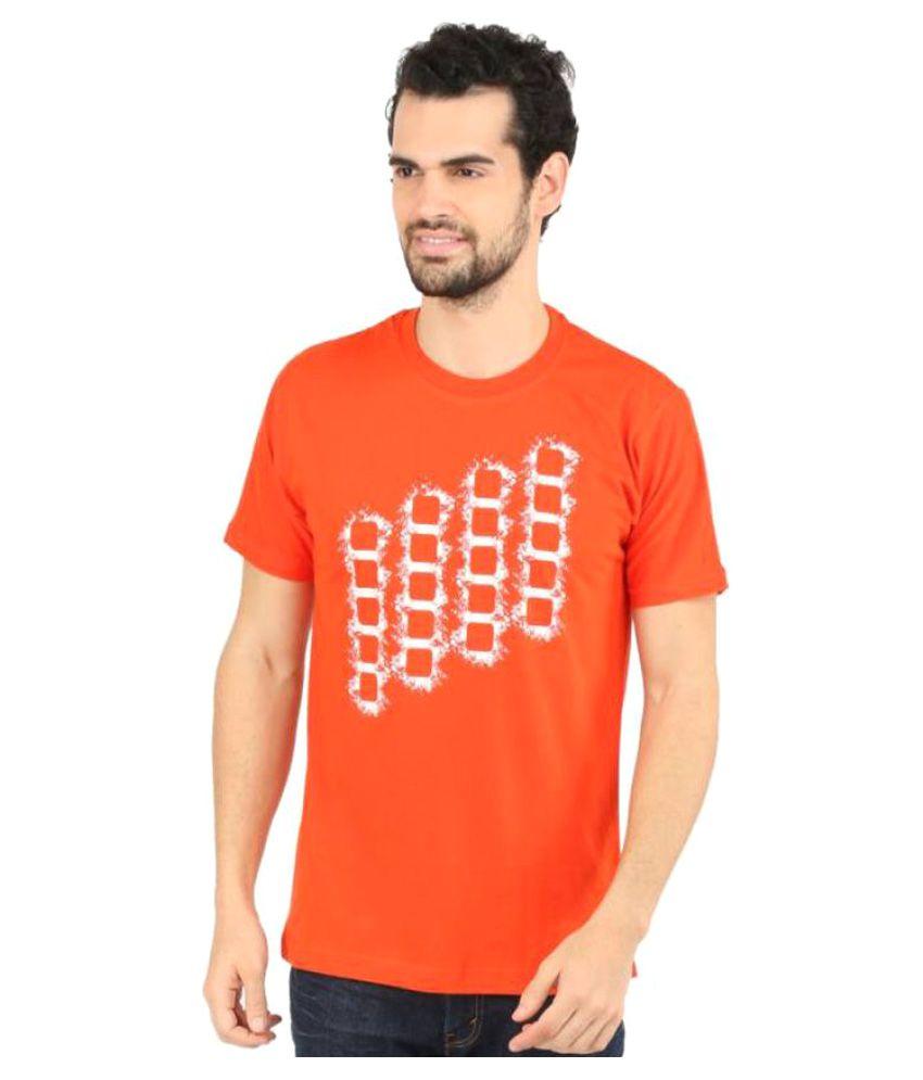 Vector X Printed Men's Round Neck Orange T-Shirt