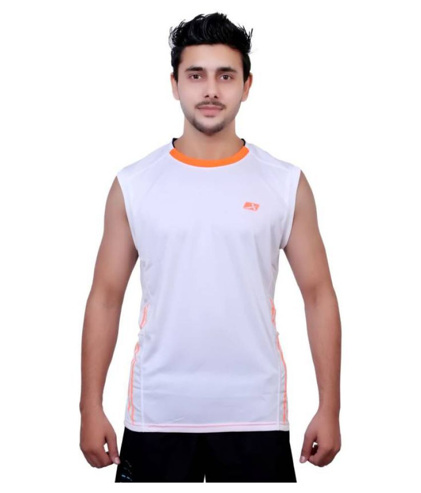 Vector X Solid Men's Sleeveless Round Neck White T-Shirt