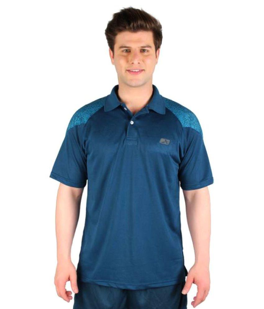 Vector X Solid Men's Polo Neck Dark Blue T-Shirt