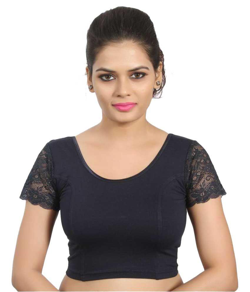 Atulya Designer Blouse Navy Round Shape Back Blouse