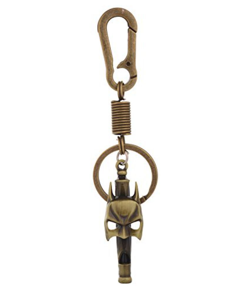 Kairos Batman Mask Whistle Keychain with Hook Key Chain Antique Gold (KC-Batman-Whistle-MD )