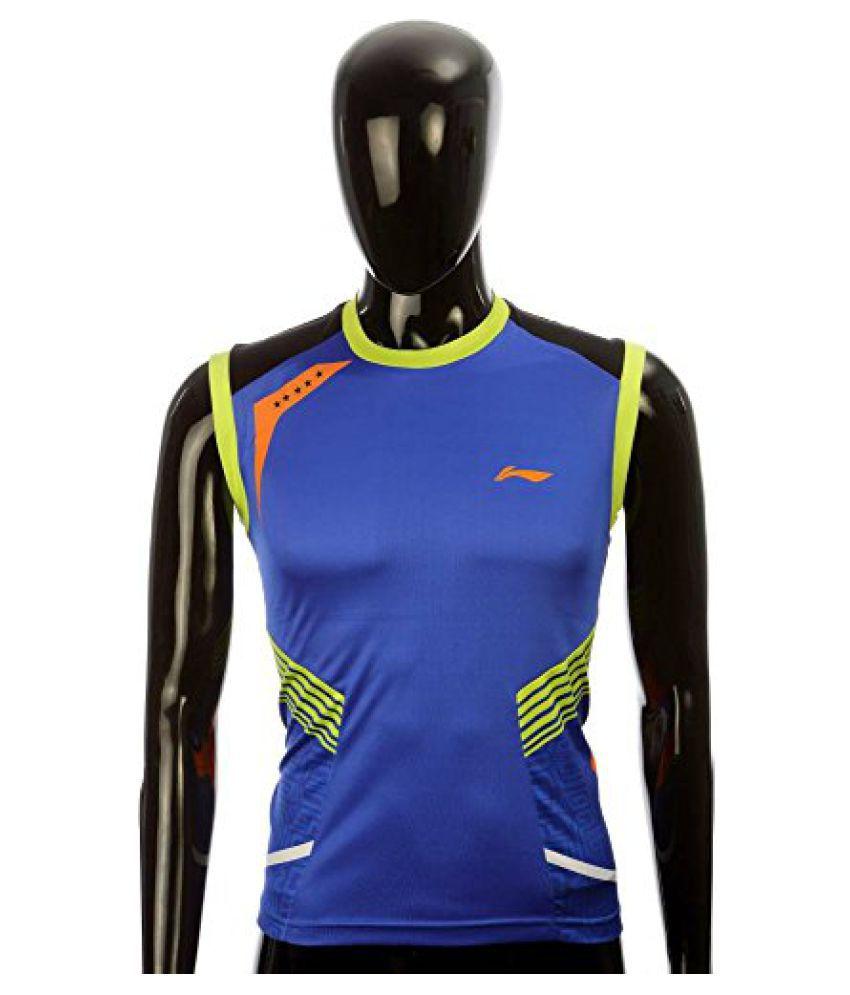 Li-Ning LN-MS12062BLU Striped Men's Round Neck T-Shirt Without Sleeve (Blue)
