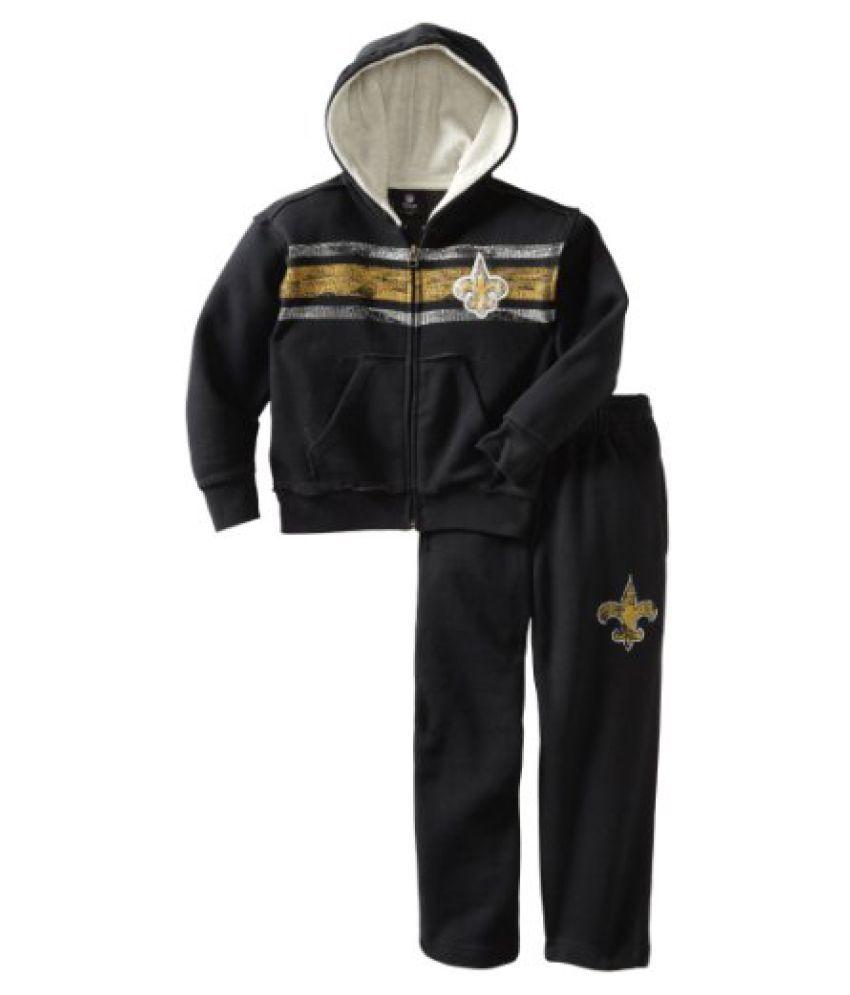 NFL New Orleans Saints 4-7 Youth Vintage Zip Fleece Hoodie Two Piece Set