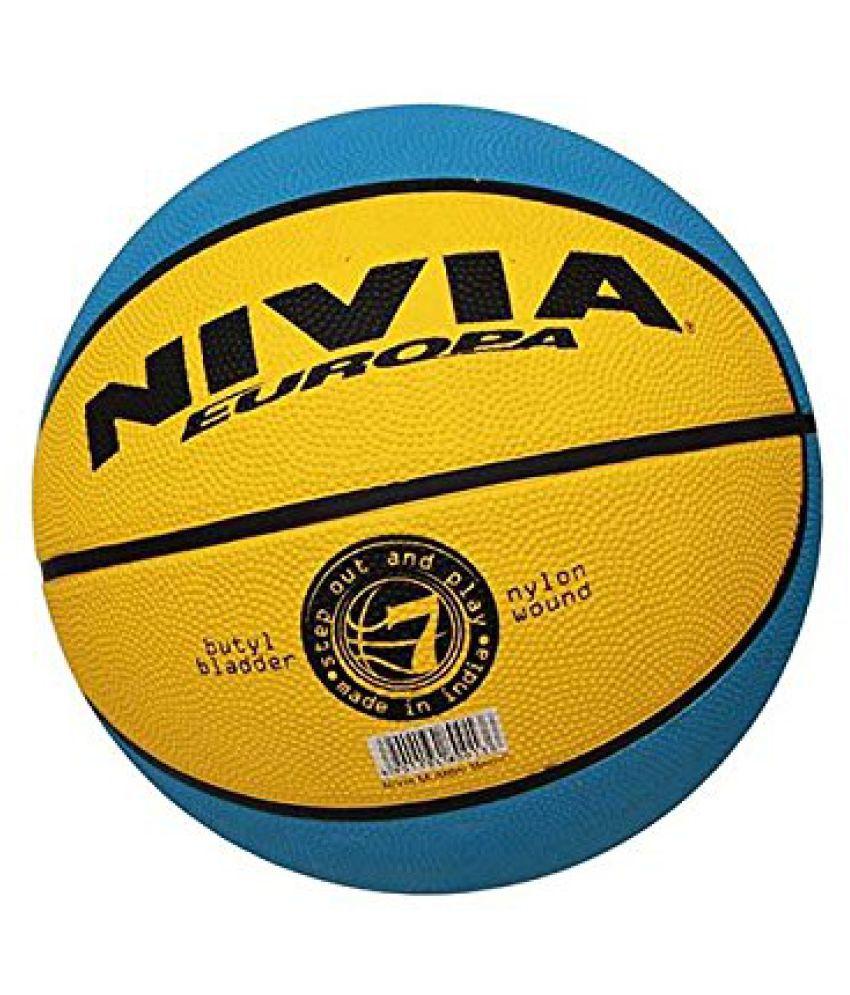Nivia Mumbai Magic Basketball, Size 5 (Yellow/Sky Blue)