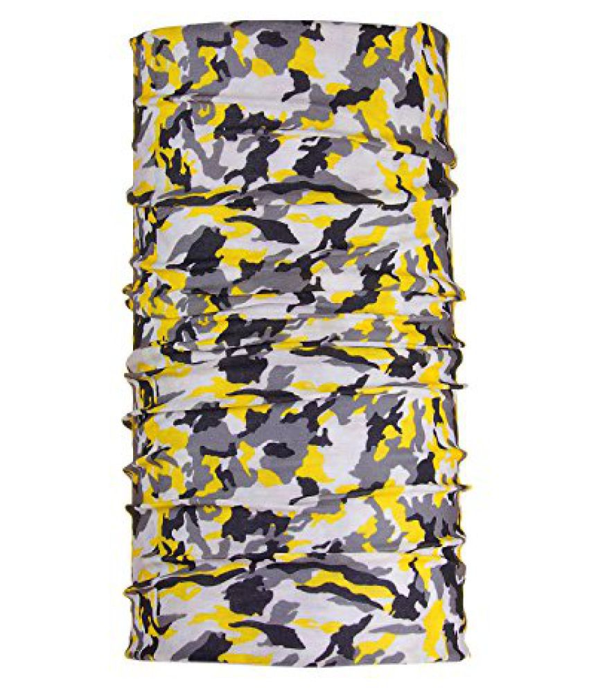 FabSeasons Camouflage Printed Polyester Multipurpose 12 in 1 Bandana. Can be worn as Bandana, Balaclava, Headband, Scrunchie, Neckerchief, Hair Band, Face Mask, Scarf, Headwrap, Pirate Wrap, Skull Cap and Beanie Cap