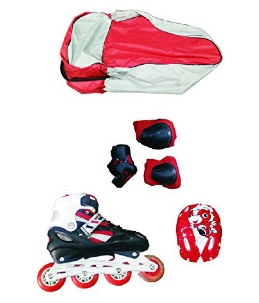 IRIS Adjustable Red Inline Skate Combo Set IR111 Size 3 - 6 UK