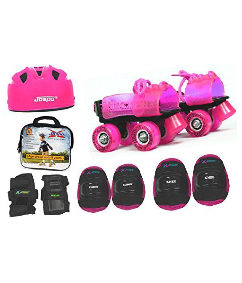 Jaspo Pink Heaven Pro junior Skates Combo (skates+helmet+knee+elbow+wrist+bag)suitable for age upto 5 years