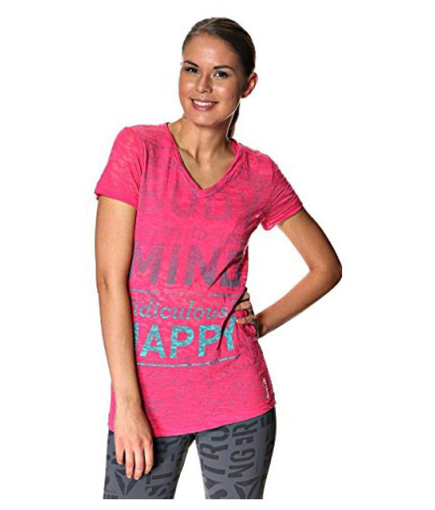 Reebok Women Fuchsia Pink Printed V-Neck T Shirt (Small)