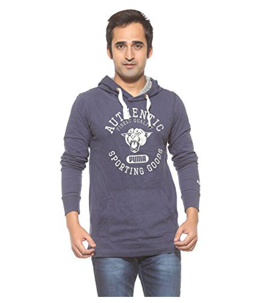 Puma Blue Cotton Blend Full Sleeves Non Zipped Sweatshirt