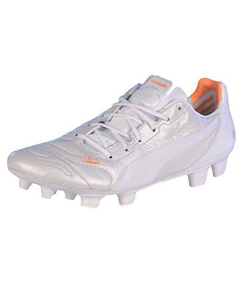 Puma Men s evoPOWER 1.2 Leather Soccer Cleats-White Orange