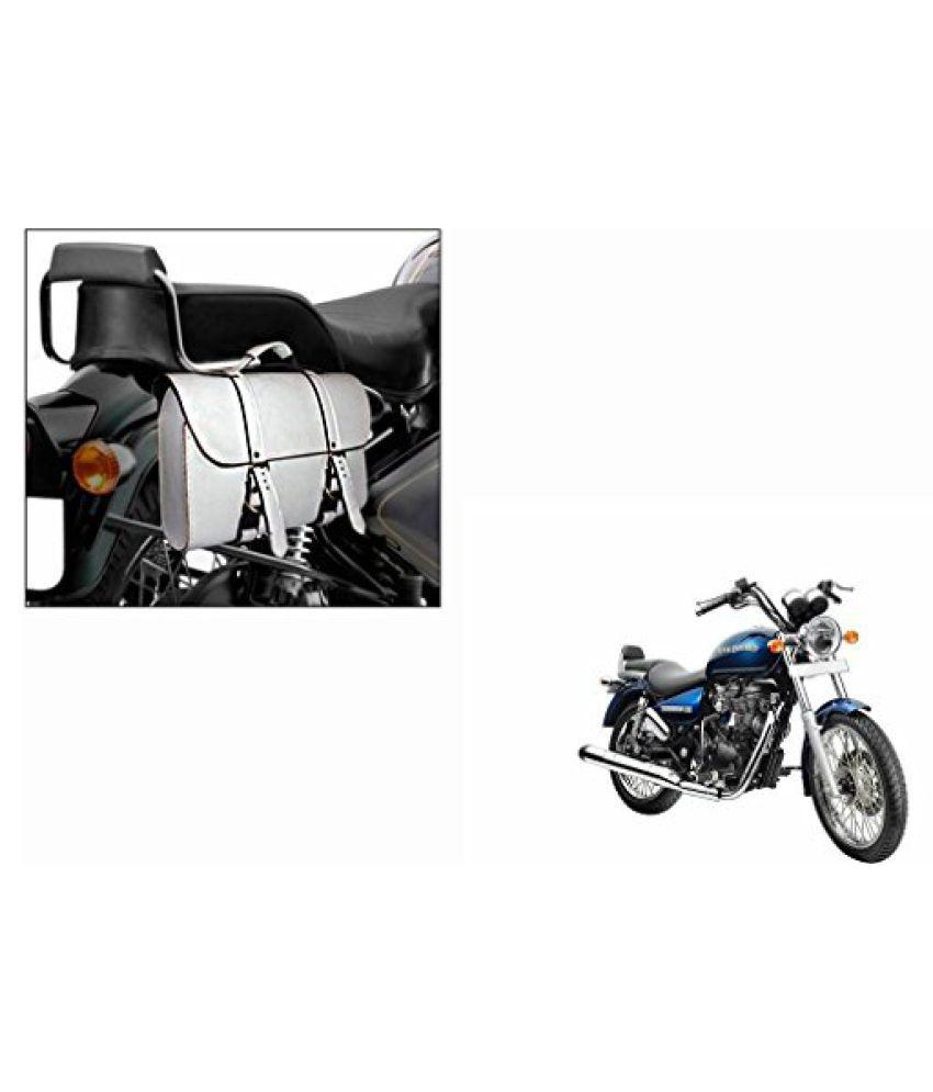 Speedwav Bike Handbag Style Side Saddle Bag White-Royal Enfield Thunderbird 500 Type 2
