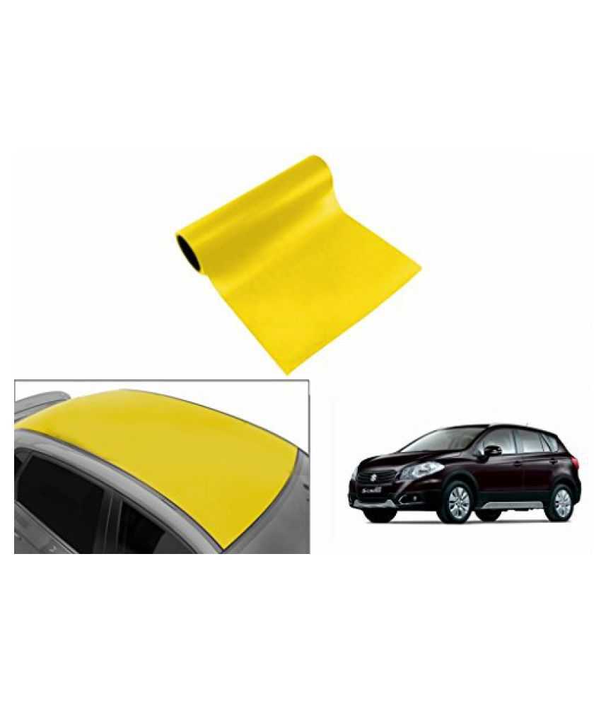 Speedwav Car Roof Glossy Wrap Sheet Neon Yellow-Maruti S-Cross