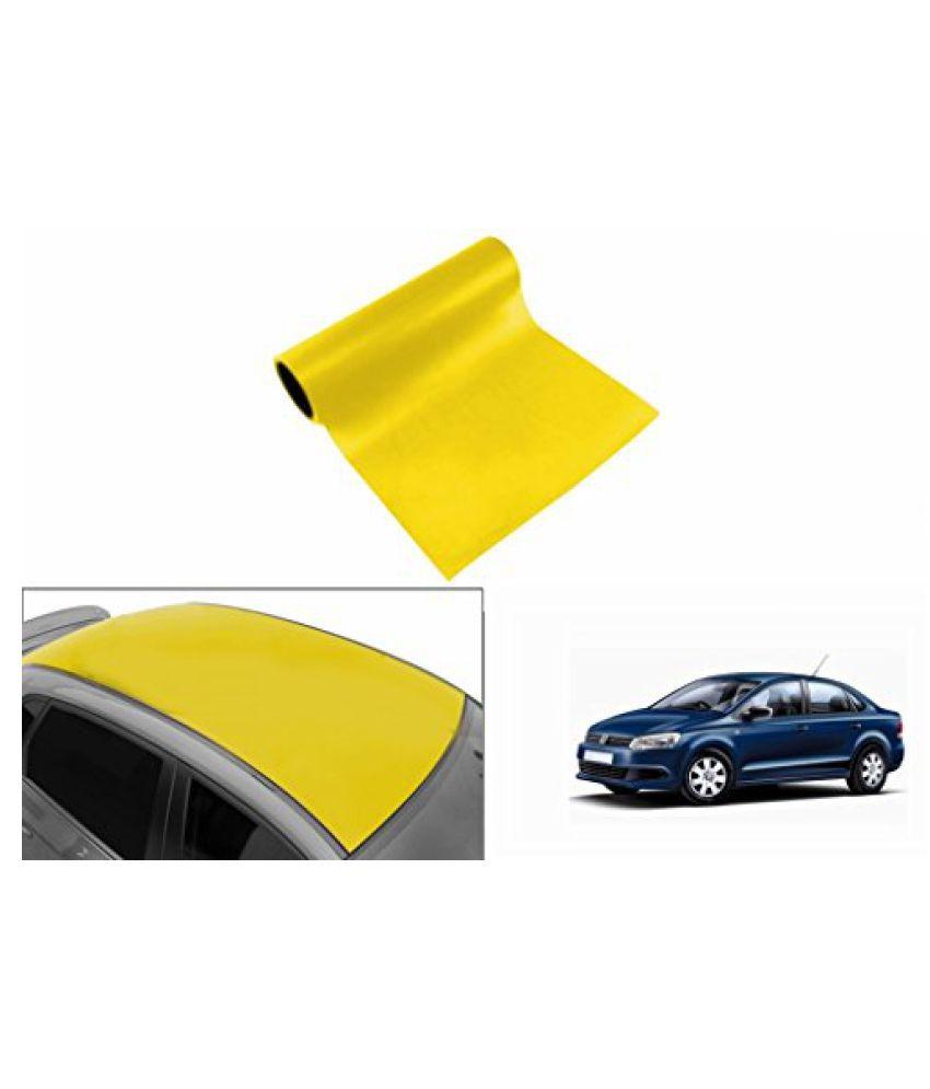 Speedwav Car Roof Glossy Wrap Sheet Neon Yellow-Volkswagen Vento Type 1 (2010-2015)