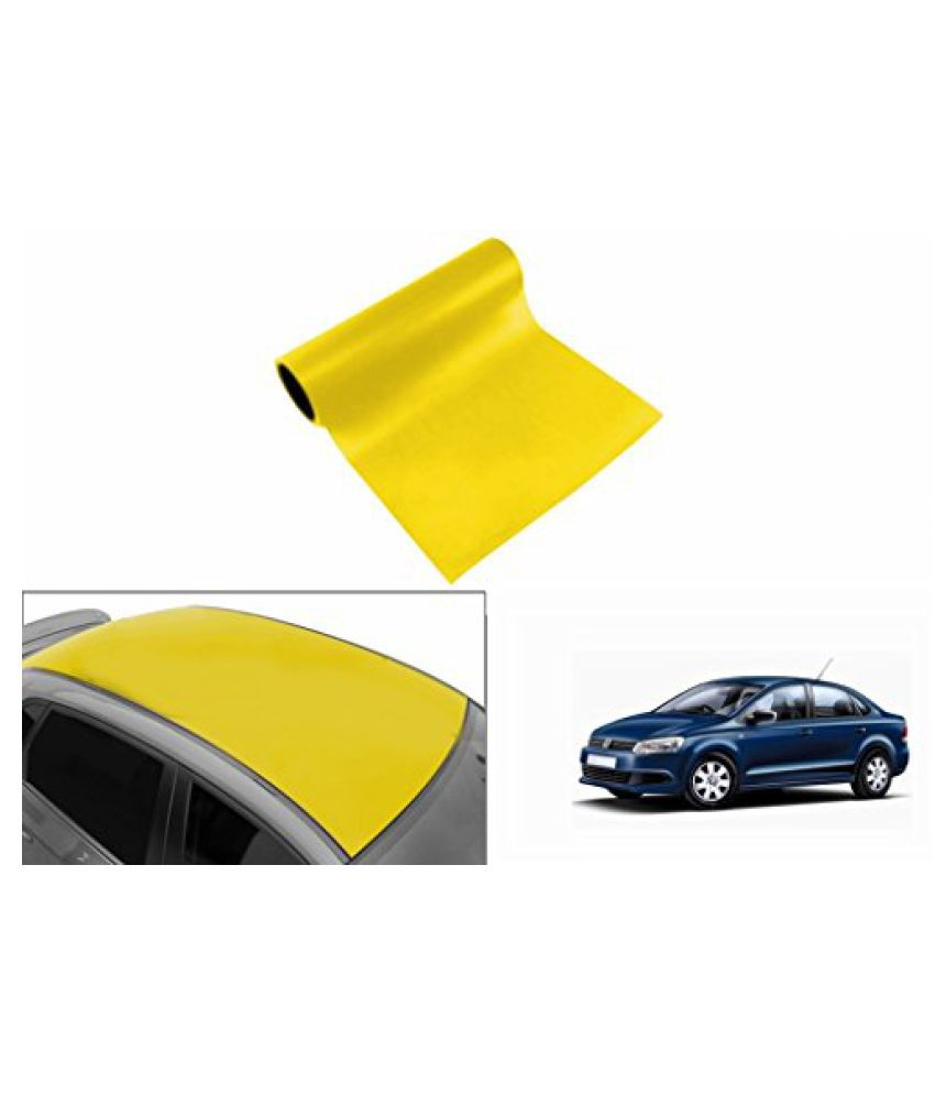 Speedwav Car Roof Glossy Wrap Sheet Neon Yellow-Volkswagen Vento Type 2 (2015-2016)