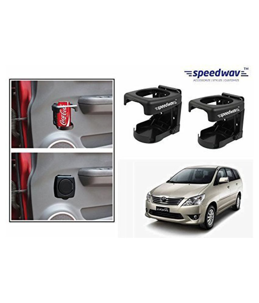 Speedwav Foldable Car Drink/Bottle Holder Set Of 2 BLACK-Toyota Innova Type 1 (2005-2009)
