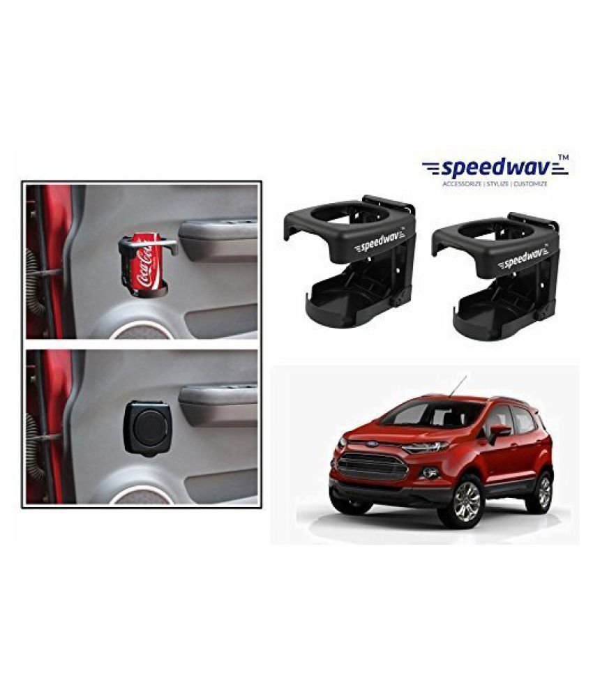 Speedwav Foldable Car Drink/Can/Bottle Holder Set Of 2 BLACK-Ford Ecosport