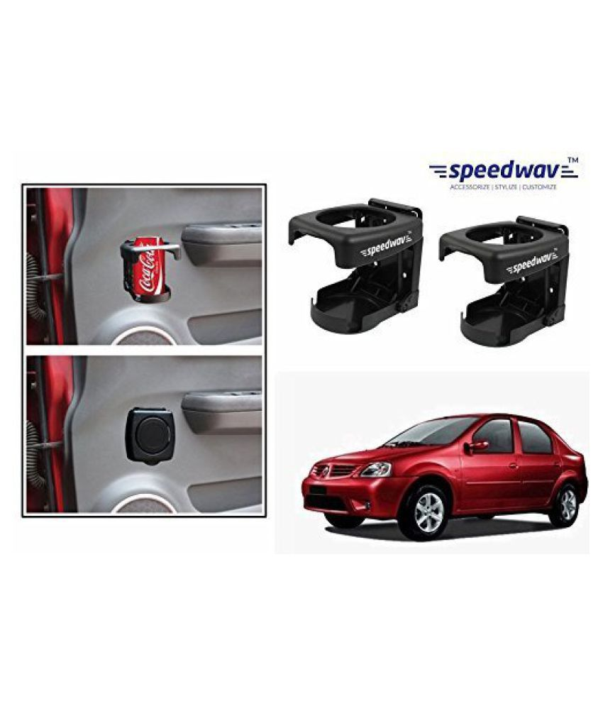 Speedwav Foldable Car Drink/Can/Bottle Holder Set Of 2 BLACK-Mahindra Logan