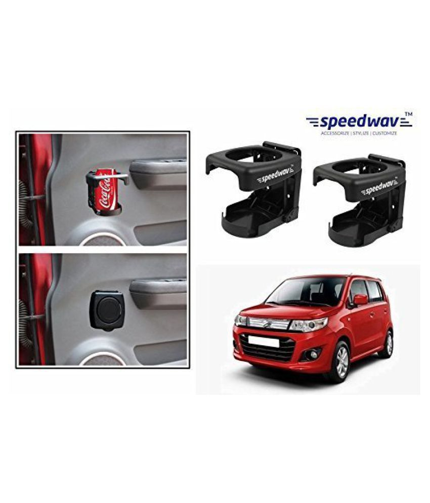 Speedwav Foldable Car Drink/Can/Bottle Holder Set Of 2 BLACK-Maruti R Stingray