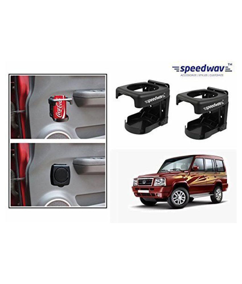 Speedwav Foldable Car Drink/Can/Bottle Holder Set Of 2 BLACK-Tata Sumo