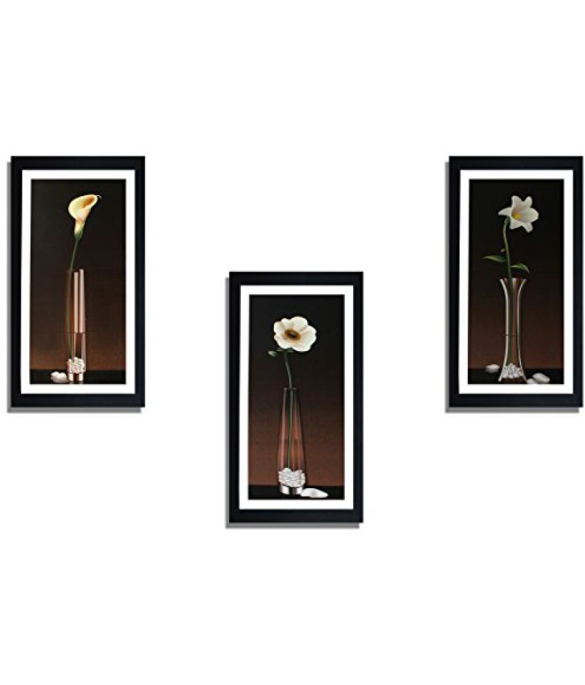 SAF 'Floral' Framed Painting (Wood, 15 cm x 3 cm x 38 cm, Special Effect Textured with UV, Set of 3, SANFO270)